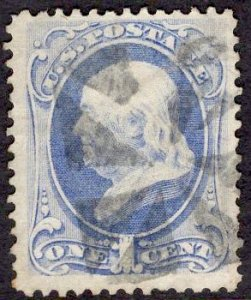 US Stamp #182 1c Dark Ultramarine Franklin USED SCV $6