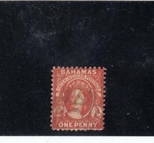 BAHAMAS  # 24 VF-USED  1p 1882-1898 QUEEN VICTORIA / VERMILION CAT VALUE $23