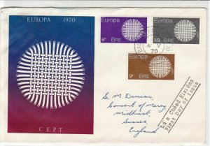 Ireland Europa 1970 Europa CEPT Woven Illustration Shape Stamps FD Cover Rf34786