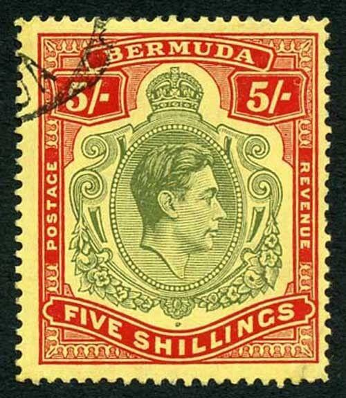 Bermuda SG118b KGVI 5/- Pale Green & Red/yellow Line Perf 14.25 (Ref 06)