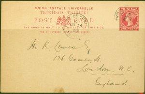 Trinidad 1900 1d Postcard to London Fine & Attractive