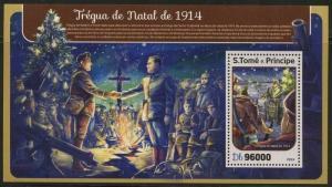 SAO TOME 2017 WORLD WAR I CHRISTMAS  CEASEFIRE 1914 SOUVENIR SHEET MINT NH