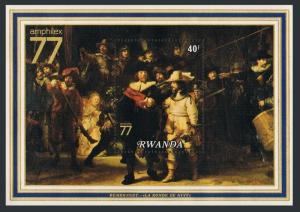 Rwanda 817-18,MNH.Michel Bl.76-77. AMPHILEX-1977.Ship,Willem de Velde,Rembrandt.