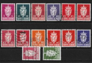 Norway 1955-74 Lot of 14 Arms stamps Officials, VF Clean Used (SL-1)