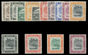 Brunei 1947 KGVI set complete superb MNH. SG 79-92. Sc 62-75.