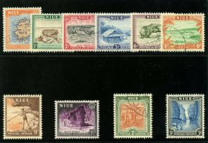 Niue 1950 KGVI Pictorial set complete very fine used. SG 113-122. Sc 94-103.