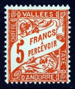 ANDORRA (French) 1941 Postage Due 5 Francs Orange SG FD100 MINT
