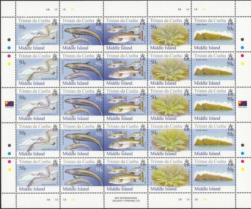 Tristan da Cunha Birds Fish Marine Life Plants Middle Island Full Sheet of 5
