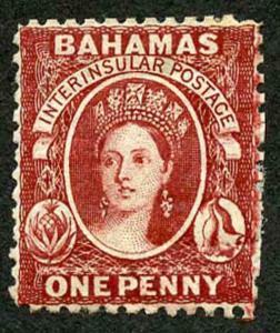 Bahamas SG20x 1d Brown-lake Perf 12.5 Wmk CC and PAPER MAKERS Wmk M/Mint