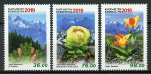 Kyrgyzstan Flowers Stamps 2019 MNH Flora Red Data Book Mountains Tulips 3v Set