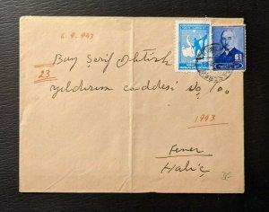 1943 Istanbul Turkey Cover to Halic Turkey