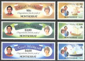 Montserrat Sc# 465-470 MNH Set/6 1981 Royal Wedding