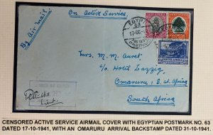 1941 Middle East forces Egypt OAS Cover To Omaruru South West Africa