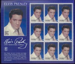 Elvis Aaron Presley 25th Anniversary Souvenir Stamp Sheet #2584 Antigua E66