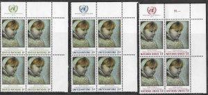 UN-NY # 224-25 & UN-GENEVA # 21 Picasso Art  MI4 Blocks (3) MNH
