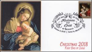 18-268, 2018, Madonna and Child, Pictorial Postmark, First Day Cover, Christmas