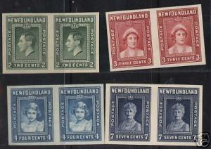 Newfoundland #245 - #248 XF Imperforate Lovely Proofs