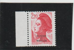 St. Pierre & Miquelon  Scott#  462  MNH  (1986 Overprint)
