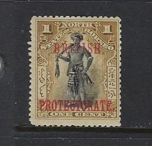 NORTH BORNEO SCOTT #105 1901-05 OVERPRINT BRITISH PROTECTORATE 1C MINT  LH