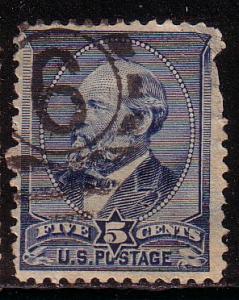 US # 216 5c Garfield,indigo, (U) CV $17.50