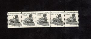 1897a Locomotive PNC Strip Of 5 (#4) Mint/nh (free shipping)
