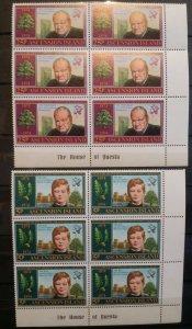 1974 Ascension Island Winston Churchill Anni of Birth Block of 6 MNH