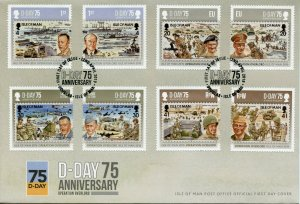 Isle of Man IOM 2019 FDC WWII WW2 D-Day 8v Cover Military Ships Aviation Stamps