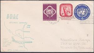 USA UN FRANKING 1961 first flight cover NY to Lima Peru.....................7134