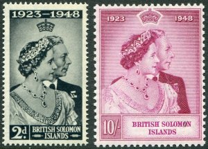 BRITISH SOLOMON ISLANDS-1948 Royal Silver Wedding Set Sg 75-76 UM V48940