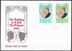Gibraltar FDC 305-6 Royal Wedding Princess Anne
