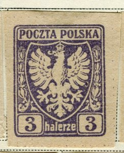 POLAND; 1919 early Imperf issue fine Mint hinged 3h. value