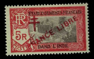 FRENCH INDIA  Scott 176 MH* France Libre  overprint