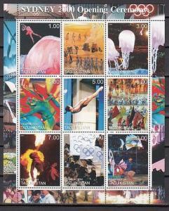 Tadjikistan, 2000 Russian Local issue. Sydney Olympics sheet of 9. ^