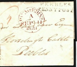 GB SCOTLAND Edinburgh Prepaid EL Horsburgh Castle Peebles Penny Post 1828 B189b