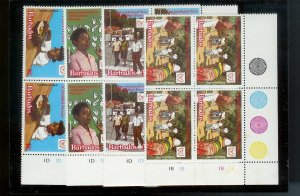 BARBADOS Sc#543-546 Complete Mint Never Hinged PLATE BLOCK Set