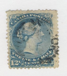 Canada Victoria Large Queen Stamp; #28-12 1/2c Used Fine Th Guide Value = $60.00