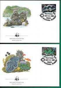 1986   MARSHALL ISLES  -  MARINE LIFE   - WWF - SET OF 4 FDC -  USED