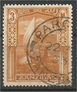 ZANZIBAR, 1921, used 3r, Dhow Scott 172