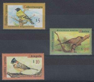 ARGENTINA 1994-95 BIRDS Sc 1835, 1876 & 1880 TOP VALUE & FULL SET MNH VF SCV$70