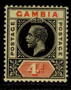 GAMBIA GV SG92a, 4d black & red/lemon, LH MINT. Cat £14.