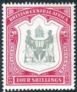 BRITISH CENTRAL AFRICA-1896-1900 4/- Black & Carmine.  LMM example Sg 50