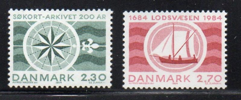 Denmark Sc 751-2 1984 Hydrographic & Pilotage stamp set mint NH