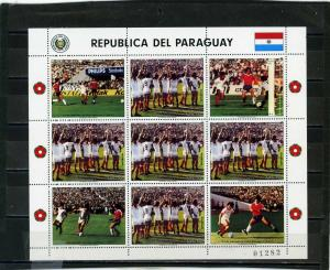 PARAGUAY 1986 Sc#C650 SOCCER WORLD CUP MEXICO SHEET OF 5 STAMPS & 4 LABELS MNH