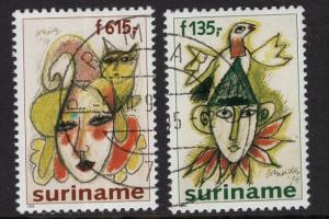 Surinam  #1026-1027  cancelled   1995  Jesters paintings Corneille