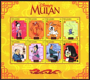Gambia. 1998. Small sheet 3030-37. Cartoon, Disney, Mulan. MNH.