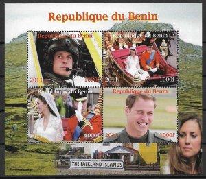 2011 Republic of Benin Royal Wedding MNH S/S of 4