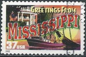 US 3719 (used) 37¢ greetings from Mississippi (2002)