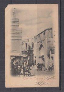 TUNISIA, 1902 ppc. Sfax, Street, 1c., 2c.(2) Sfax to Austria, corner fault..