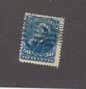 CANADA (MK3176) # 47  FVF-USED  50cts  QV /DEEP BLUE/ TORONTO CANCEL CAT VAL $75