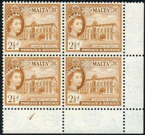 Malta SG271 2 1/2d Orange Brown Plate 1 U/M Block (crease in Selvage)